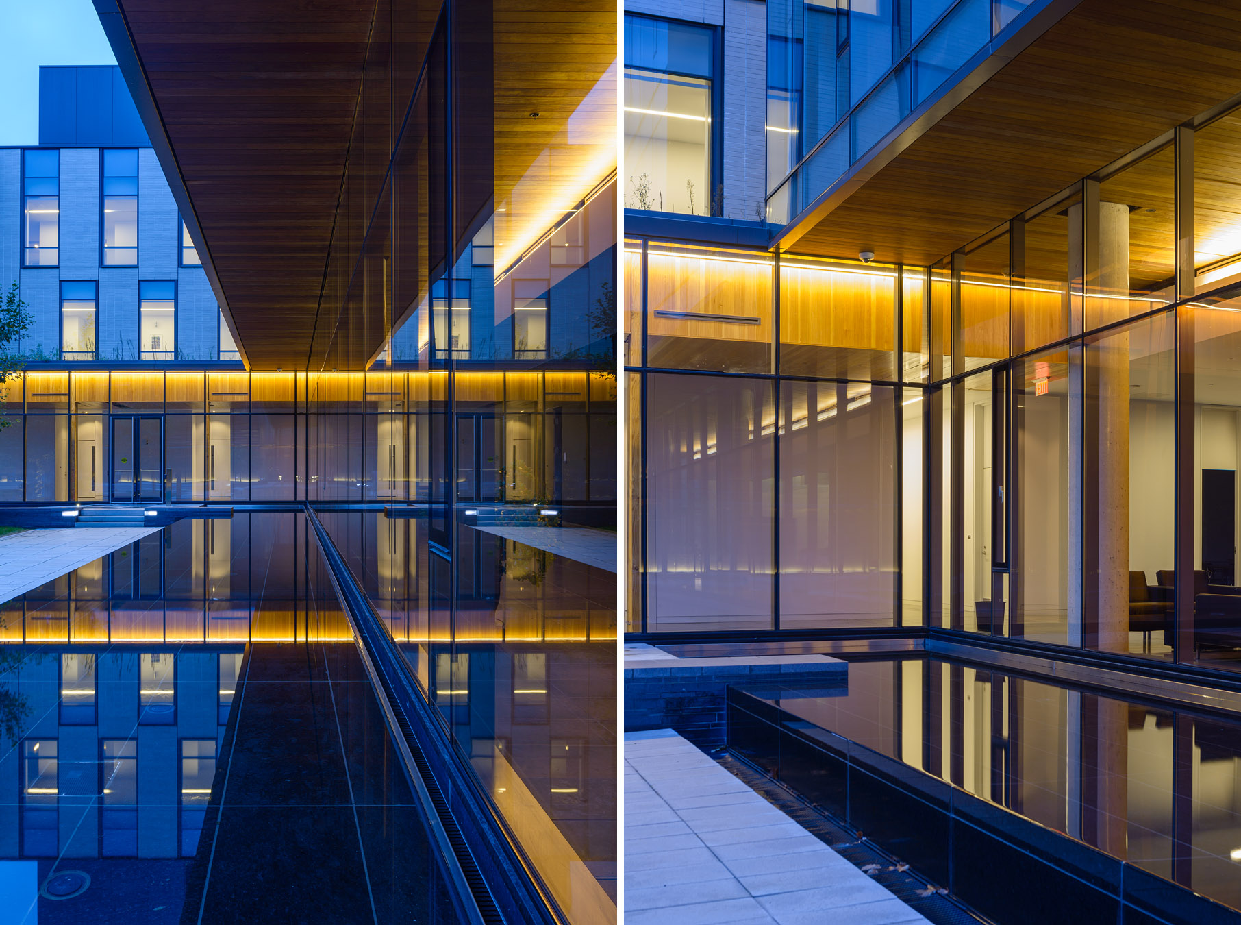2-KPMB CIGI campus Waterloo Doublespace Toronto Architectural Photography courtyard reflection dusk.jpg