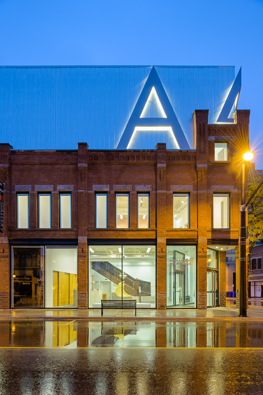 Doublespace Toronto Architectural PhotographyKongats Alix Art Gallery Sarnia exterior at dusk