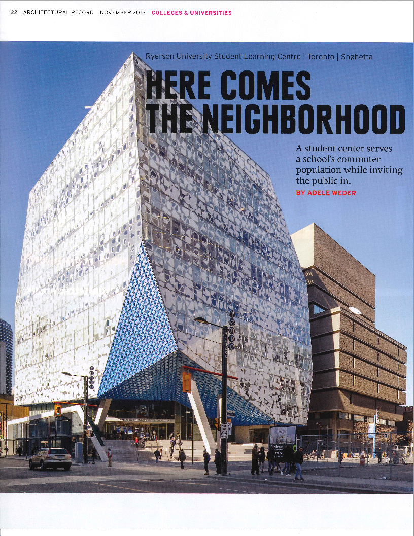 Architectural Record Publication - Ryerson Student Learning Centre